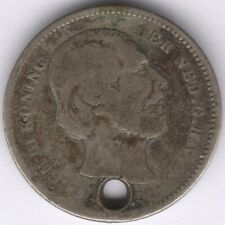 More details for 1890 netherlands silver 25 cents holed | pennies2pounds