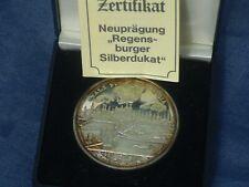Regensburger Silberdukat 999,9 reines Silber,20 gramm im Etui+Zertifikat SUPER