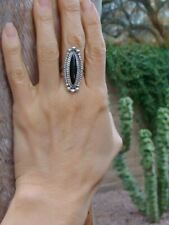 Vintage Navajo Onyx Silver Ring Sz 6.75