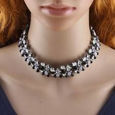 New Resin Crystal Pendant Black Chain Statement Collar Choker Necklace For Women