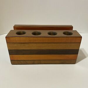 Retro Hand Crafted Solid Wood Pipe & Accessory Stand Holder MCM Home Decor