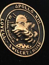 Apollo 13 XIII Lunar Exploration NASA Mission Gold Plated Black Fill Lapel Pin