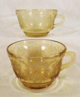 2 Normandie Tea Cups Amber Depression Glass Bouquet & Lattice Teacup Federal