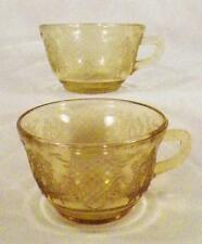 2 Normandie Tea Cups Amber Depression Glass Bouquet & Lattice Teacup Federal