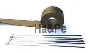 3,90€/m  Hitzeschutzband Basalt 5m + 4 Metallkabelbinder +800°C Krümmer Racing