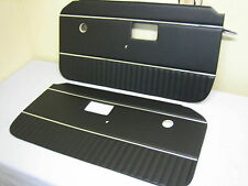 643-631 TKA4147/8 MG MGB DOOR PANELS / CARDS BLACK WITH CHROME PIPING