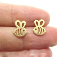 gold bumble bee busy buzz summer flower Stud Earrings Beautiful Gift Jewellery