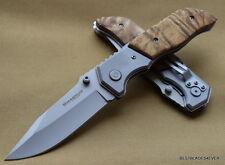 BOKER MAGNUM FOREST RANGER TACTICAL BURL WOOD HANDLE FOLDING KNIFE WITH CLIP