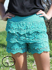 Blue Turquoise Crochet Lace Shorts 0/2 Small Southern Grace Summer Clothing NEW