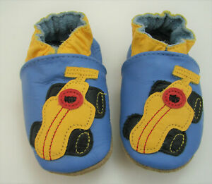 Robeez Classic Soft Leather Infant Baby Boys Crib Shoes Blue Yellow Race Car 0-6