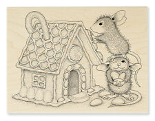Vintage Mouse House 4x5.25 Christmas Gingerbread Rubbr Stamp Card Party Ornament