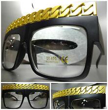 VINTAGE RAPPER HIP HOP Clear Lens EYE GLASSES Matte Black Gold Chain Link Frame