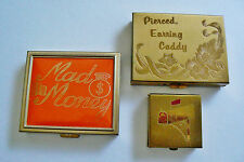 Lot of 3 VTG Pocket Case Box Caddy organizer earrings postal stamp Mad Money