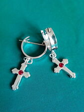 GYPSY EARRINGS, 925 STERLING SILVER DROP CROSS