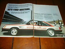 1979 FORD MUSTANG INDIANAPOLIS INDY 500 PACE CAR ***ORIGINAL 2 PAGE AD***