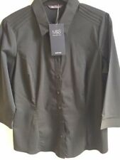 Marks & Spencer Colllection black cotton mix stretch shirt/blouse, size 14, BNWT