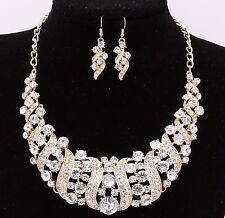 Bridal Wedding Party Jewelry Set Crystal Rhinestone Diamante Necklace Earrings