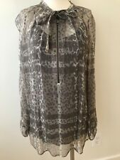 Burberry London Grey Silk Novacheck and Leopard Blouse NWT 6 Sheer with Camisole