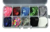 100Pcs 0.71mm Medium Celluloid Guitar Picks Plectrums Assorted Colors With Box