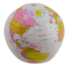 """INFLATABLE BLOW UP GLOBE 40CM 16"""" ATLAS WORLD MAP EARTH BEACH BALL GEOGRAPHY NEW"""