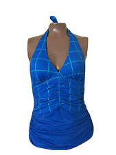 Sz 6 SPANX Halter Ruched Removable Cups Slimming Shaper Tankini Swim Top Blue