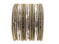Black Gold Silver Ethnic Glass Bangles Classic Indian Sari Bracelet Set 2.10 ML