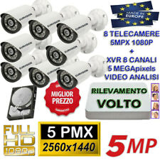 KIT VIDEOSORVEGLIANZA DVR 5MPX RILEVAMENTO VOLTO + 8 TELECAMERE 5MPX SONY + HD