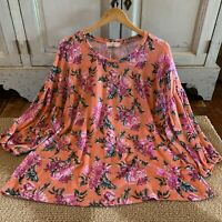 2X New Plus Size Boho Fall Floral Blouse Pink Knit Tunic Top 3/4 Womens NWT XXL