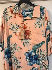 NWT  2xB  Caribbean Pure Silk Blend Peach Hawaiian Shirt $89