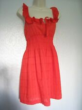 New Look Size 12 Orange Sun Top Tunic Sleeveless Gathered Frilled 100% Cotton