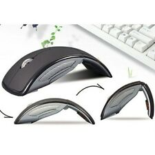 Matte Black 2.4Ghz Wireless Mouse Arc Mouse Mice +USB 2.0 Foldable for PC Laptop