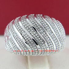 Genuine Diamond White Gold Finishing Solid Fine Silver Engagement Wedding Rings