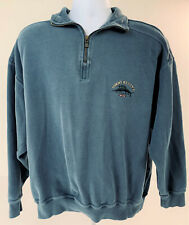 Tommy Bahama Qtr Zip Sweatshirt Men's L Pull Over Blue Fish Embroidery Logo