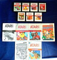 Atari 2600 Game Cartridge Lot Of 13 All Silver Labels E.T. Pole Position Manuals