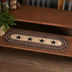 """VHC Brands Country 8.5""""x27"""" 5 Point Stars Stair Tread Tan Colonial Floor Decor"""