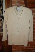 FRANCES BREWSTER Ivory / Gold Knit Evening Suit GORGEOUS DETAILS Size Medium