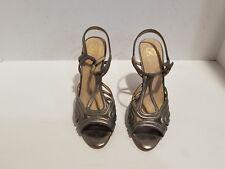 Joan David Womens Metallic Leather Ankle Strap Heels Size 7 M