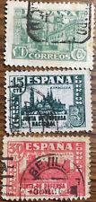 3 Sellos España Junta de Defensa Nacional 1936. usados Edifil 805, 806 y 808