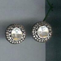 Victorian 1.10 Ct Rose Cut Diamond Polki 925% Sterling Silver Stud Earring