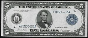 """1914 $5 Large Federal Reserve Bank Note """"Crisp Choice New"""""""