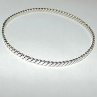 Vintage artisan hand crafted twisted wire sterling silver bangle bracelet