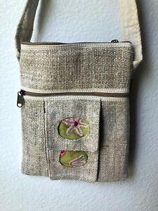 NWT Embroidered Hippie Eco Frendly THC Free PURE Hemp Side BAG Adjust Nepal SB18