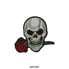 Skull Rose Biker Embroidered Patch Iron on Sew On Badge