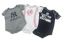 New York Yankees MLB Official Baby Infant Size 3 Piece Creeper Bodysuit Set New