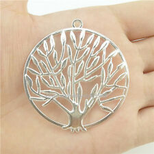 15410*7PCS Large Plant Hollow Tree Of Life Pendant Charm Alloy Bright Silver