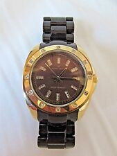 Anne Klein Women's Crystal Collection Accented Gold Tone Brown Resin Watch