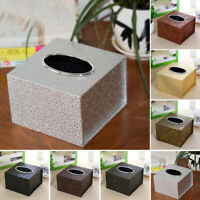 PU Leather Tissue Box Cover Table Car Napkin Case Holder Storage Organiser
