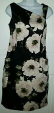 Nine West black floral stretch cotton side pocket dress. 6