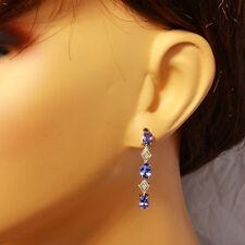 3.60 Carat Natural Tanzanite 14K Solid White Gold Diamond Earrings