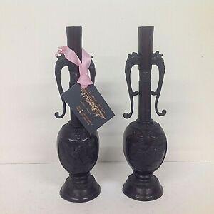 Chinese Antique Bronze pair of narrow necked vases with Elephant Handles & Birds